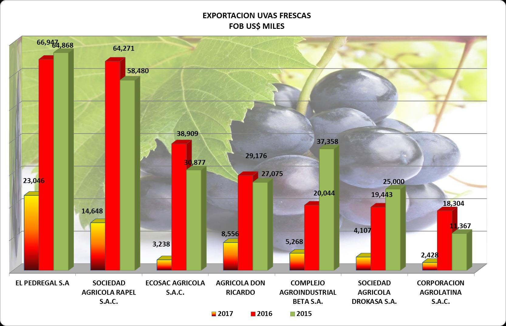 Uvas Perú Exportación 2017 Febrero