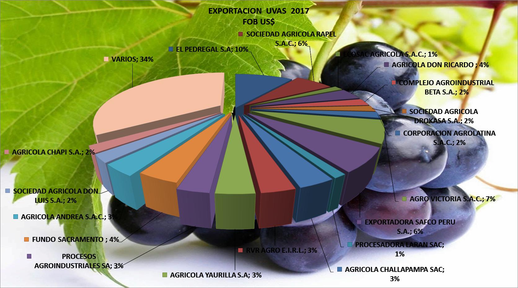 Uvas Perú Exportación 2017 Marzo