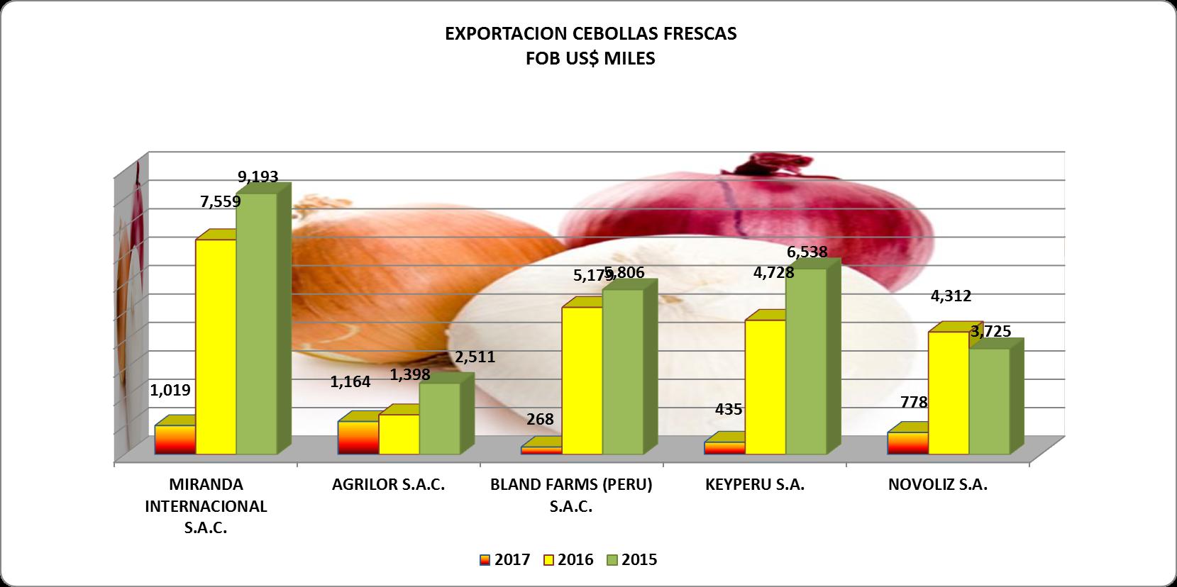 Cebolla Fresca Perú Exportación 2017 Julio